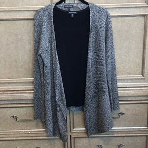 EILEEN FISHER CARDIGAN SWEATER & SOLID BLACK SHIRT